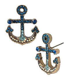 Betsey Johnson Pav Anchor Stud Earrings #Dillards