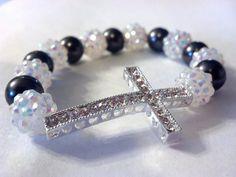 White and Charcoal Pearl SIDEWAYS CROSS Bracelet by gr8byz on Etsy, $9.00