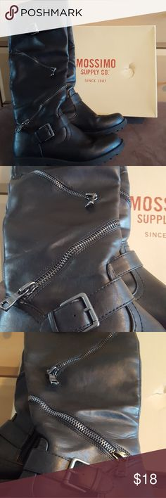 Briar Combat Boots Black, man made leather, motocross/combat boots. In great condition, only worn a few times. Mossimo Supply Co Shoes Combat & Moto Boots