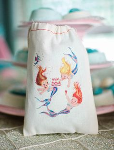 Custom Drawstring Favor Sack from a Magical Mermaid Birthday Party via Kara's Party Ideas! KarasPartyIdeas.com (12)