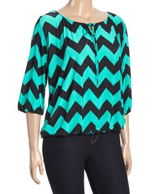 Another great find on #zulily! Teal Chevron Blouson Top - Plus #zulilyfinds