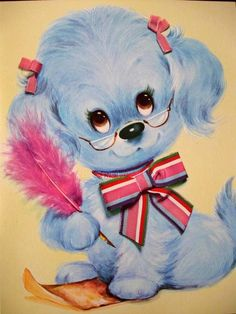 Vintage Poodle Greeting Card...i have this card. I got when i was little. I have several more like it. So cool!