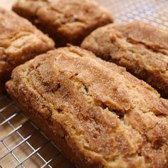 Snickerdoodle Bread:  2½ cups flour 2 tsp. baking powder ½ tsp. salt 2 tsp. cinnamon 1 cup butter softened 2 cups sugar 3 eggs 1 tsp. vanilla ¾ cup sour cream. zhershey cinnamon chips, 3TBSP sugar & 3 TBSP cinnamon