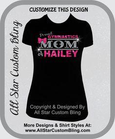Custom Proud Gymnastics Mom Glitter and Bling Shirt, Gymnastic Mom Bling Shirts, Bling Gym Mom Shirts by AllStarCustomBling on Etsy