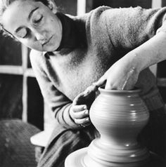 From the NC State Archives is Karen Karnes creating pottery, taken at Black Mountain College in the 1950s.