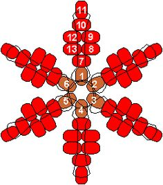 Christmas Ornaments You Can Make - Poinsettia/Snowflake Pony Bead Pattern. You could probably add to the pattern to make some really neat snowflakes!