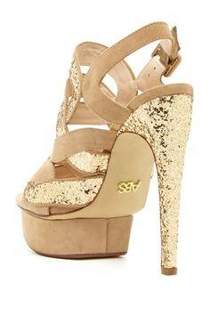 Khloe Crisscross Glitter Platform Sandal