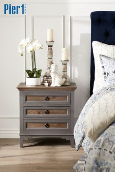 The perfect combination of slate gray and weathered wood, Pier 1's Weston Slate and Saddle 3-Drawer Nightstand features a two-tone finish, classic lines and modern styling. It features three roomy drawers for storage.