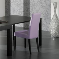 Ideal Sedia modern dining chair with wenge veneer legs and a lilac eco-leather cover