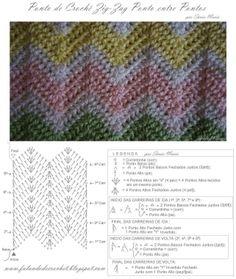 PONTO ZIG-ZAG PONTO ENTRE PONTOSA - Sônia Maria - Falando de Crochet