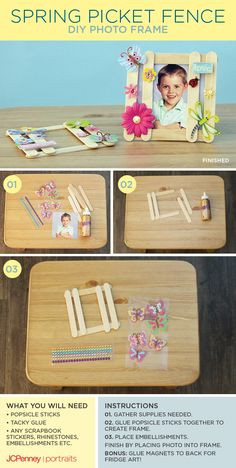Do April showers have you stuck indoors? Break out the craft box for this fun and easy project! This Spring Picket Fence Frame requires popsicle sticks, glue, and your favorite embellishments. | JCPenney Portraits