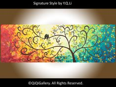 Abstract Landscape Handmade Original Painting Heavy Texture Impasto Tree Palette Knife Love Birds Wedding Wishing Tree Wall Décor