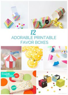 These cute and colorful free printable favor boxes are great for kids' parties! #kidspartyfavors #kidsparties