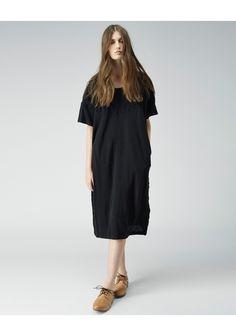Zucca / Lilian Embroidered Dress | La Garçonne. Lilian Embroidered Dress by Zucca.  Oversized, short sleeve dress featuring tonal embroidery done in a gauzy cotton-wool jersey.