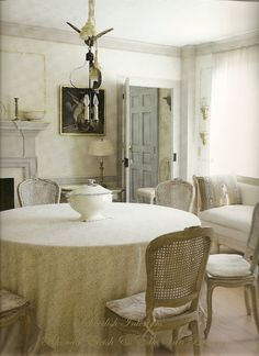 french dining chairs w/ round skirted table ... love this soft palette