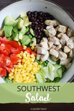 Bright, beautiful and packed with flavor! This nutritious, one dish dinner idea is a family favorite for busy nights. Southwest Salad combines lots of veggies like avocados, tomatoes, and corn with black beans, chicken and a homemade greek yogurt dressing! Salad Recipes Healthy Lunch, Salad Recipes For Dinner, Dinner Salads, Salad Recipes Video, Chicken Salad Recipes, Delicious Dinner Recipes, Yummy Recipes, Southwest Salad, Southwest Chicken