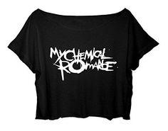 Women's Crop Top My Chemical Romance Shirt Rock Band MCR T-shirt (Black)