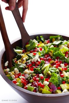 Pomegranate Pear Avocado Salad --:It's a great way to make use of those seasonal sweet pomegranate seeds and juicy pears.  And when you toss in some avocado, pistachios, goat cheese (or blue or feta), and then drizzle it with a citrus vinaigrette?