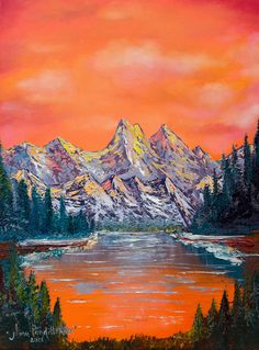 Mountain Landscape At Sunset by Nino Ponditerra Landscape Steps, Fantasy Landscape, Mountain Landscape, Landscape Photos, Abstract Landscape, Landscape Paintings, Oil Paintings, Mountain View, Forest Mountain