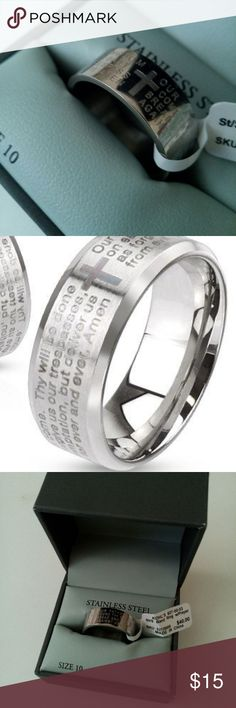 Mens Ring Size 10 The Lords Prayer NEW Gift New in Box, faith-based jewelry for men. Men's Stainless Steel Band Ring etched with a Cross and The Lord's Prayer, Our Father in Heaven. Size 10. Perfect gift idea, for wedding, birthday, graduation, easter! Unworn and Unused. Smoke-free and pet free.   I ship 1 -2 days. I leave positive feedback because I appreciate you and your business! You follow me, I'll follow you...let's just say, you're stuck with me. ((: 1913 Men's Accessories Ring…
