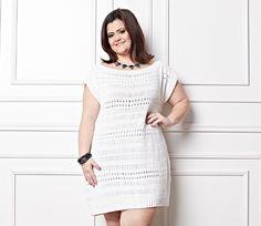 Vestido branco de tricô Plus Size - Receita, passo a passo e gráfico