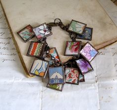 beautiful charm bracelet made from old linens and hankies