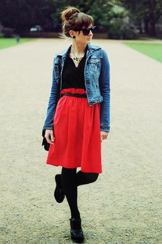 This red skirt looks kind of like a shower curtain, and I like it.