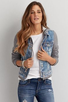 American Eagle Outfitters AE Hooded Denim Jacket