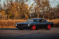 """Roadster Shop's 1000HP twin turbo Hemi-powered """"Hellfish"""" '70 Cuda on Forgeline DE3C Concave wheels finished in Transparent Red. Think you could handle this beast? See more at: http://www.forgeline.com/customer_gallery_view.php?cvk=1317  #Forgeline #DE3C #notjustanotherprettywheel #madeinUSA #Plymouth #Barracuda #Hellfish"""