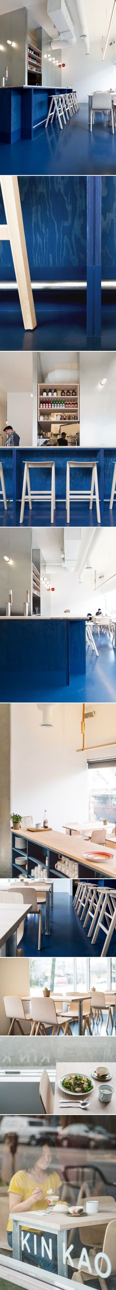 Paint It Blue: A New Wave Thai Restaurant in Vancouver by Christine Chang Hanway [This place is amazing. It has so many of my fave elements: plywood, wood, concrete, metal. . . I love the way they used commercial acrylic paint to stain the floor AND used a thine version on the construction-grade Douglas fir plywood. Then they used beech for the countertops and tables and I THINK galvanized metal for the table supports! Simply wonderful!]