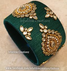 """To order Whatsapp +91 9791090024 For more collections visit """"www.facebook.com/infalliblecreationzsilk"""". Silk Thread jewelry, silk thread bangles, silk thread bridal bangles, wedding bangles, Bridal Bangles, engagement bangles, bangles, seemandham bangles, party wear bangles, silk thread jewellery, handmade jewelry, infallible creationz, Silk Thread Kundan Bangles, Kundan Worked Bangles, Raw Silk Bangles, Kundan Bangles, Kada Bangles, Silk Thread jewellery, Designers Bangles Silk Thread Jhumkas, Silk Thread Bangles Design, Silk Thread Necklace, Beaded Necklace Patterns, Thread Bracelets, Jewelry Patterns, Kundan Bangles, Silk Bangles, Bridal Bangles"""