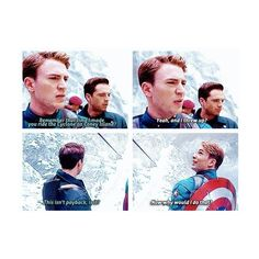 Haha love Bucky Captain America ❤ liked on Polyvore featuring captain america