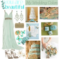 Untitled #58, created by leasterling on Polyvore -- love the dress but LOVE the colors together, a light greenish and bright blues!