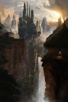 ...and it's a safe place despite its forbidding appearance, or maybe because of that...through the ever-present mist, the castles look like tall peaks, the little houses like hills...and the roaring falls and steep cliffs make journeying difficult if you do not have the gift...