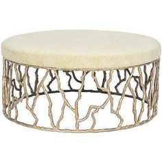 Vanguard Furniture, Ottomans, Gia Metal Base Button Cocktail Ottoman – Stephanie Cohen Home Fabric Ottoman, Chair And Ottoman, Ottoman In Living Room, Living Room Furniture, Concord, Cocktail Ottoman, Leather Pouf, Mid Century Style, Large Furniture