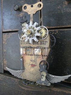 Steampunk Art by Wendy Vecchi Mixed Media Collage, Collage Art, Collages, Altered Boxes, Steampunk Crafts, Steampunk House, Found Object Art, Junk Art, Sketches
