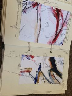 Drawing over copies of textile work.