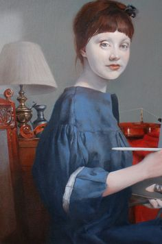 This is my favourite. The colors and shadows ; Detail, 'The Artist' by Russian-born, London-based painter Natalie Richy. Oil on canvas, 90 x 50 cm. via the artist's site Painting People, Woman Painting, Richard Burlet, Neo Rauch, Portrait Art, Face Art, William Turner, Artist At Work, John Singer Sargent