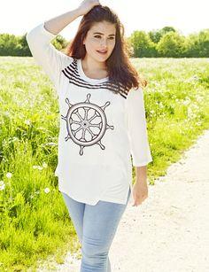 tee shirt manches longues col rond imprimé fantaisie sur le devant disponible du 42/44 au 54/56 95% polyester 5% élasthanne