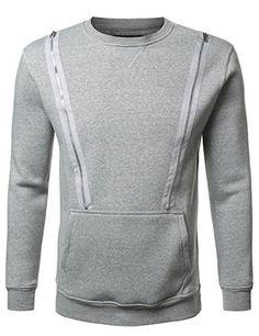 Mega Shop | URBANCREWS Mens Hipster Hip Hop Crewneck Sweatshirt Pullover w/ Zipper Detail