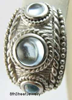 Retired Judith Ripka Sterling Silver 925 Blue Topaz Cabochon ONE Earring J07946 #JudithRipka #Hoop