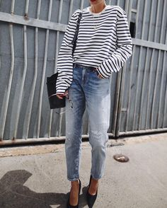 relaxed denim jeans and stripped shirt