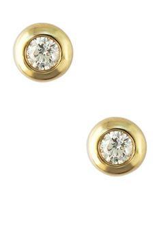 14K Yellow Gold Round Diamond Stud Earrings - 0.39 ctw