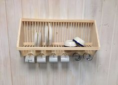 Wall Mounted Plate Rack With Cup Pegs By Nicoletwoodproducts