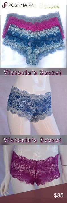Victoria's Secret 3 panties L New! Shortie New with tag!!! 3 panties BODY BY VICTORIA The Crochet Lace Sexy Shortie.Short, sweet and so boho: allover crochet plays up an unbelievably comfy shape.  • Allover crochet lace • Mid rise • Full back coverage: shows curves, not skin  • Imported nylon/spandex Victoria's Secret Intimates & Sleepwear Panties