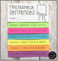 Use this FREE flipbook to teach your students how to write masterpiece sentences!