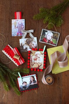 Easy Photo Ornaments - cut to fit a thin wood square bought at craft store - glued on, trim/ribbon added, done! Love these! Baby photos, yearly family photos, copied heirloom photos, pretty christmas cards, marriage/engagement...