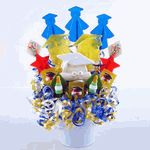 "A special gift for the special graduate you know. Say ""Congratulations"" with this unique lollipop bouquet. The wonderful lollipop flavors include cotton candy, cherry, marshmallow, watermelon and lemon. Graduation Bouquet, Graduation Centerpiece, Lollipop Bouquet, Watermelon And Lemon, Giving Flowers, Graduation Presents, Candy Table, Table Centerpieces, Gift Baskets"