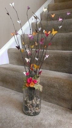 Gardens Discover Craft Spring Flowers Centerpieces 36 Ideas For 2019 Butterfly Crafts Flower Crafts Butterfly Tree Butterflies Butterfly Wall Art Home Crafts Crafts For Kids Diy Crafts Mothers Day Crafts Home Crafts, Diy And Crafts, Crafts For Kids, Decor Crafts, Butterfly Crafts, Flower Crafts, Butterfly Tree, Rama Seca, Deco Nature