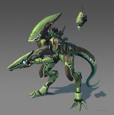 Cyborg alien with a drone., Remy PAUL on ArtStation at https://www.artstation.com/artwork/DzORe